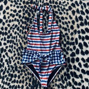 Beach Riot striped halter one-piece swimsuit